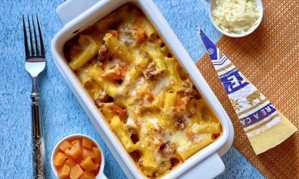 Pasta al forno con zucca salsiccia e San Stè®