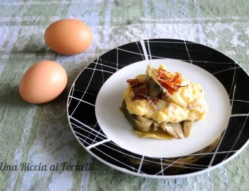 Uova strapazzate carciofi e bacon