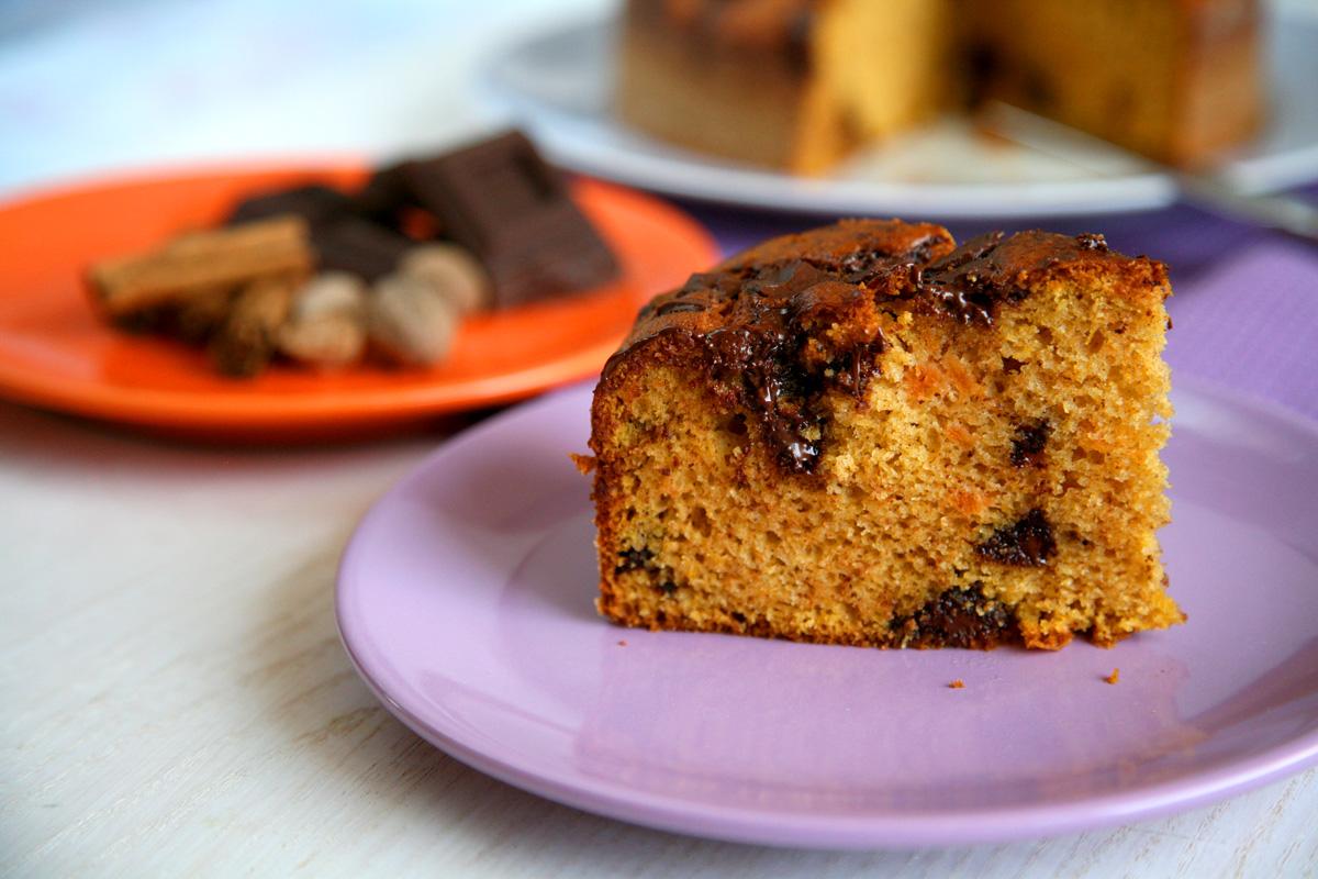 Torta alle patate dolci e pezzetti di cioccolato