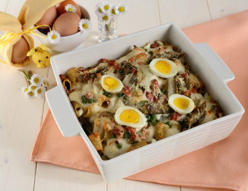 Pasta al forno con carciofi e piselli