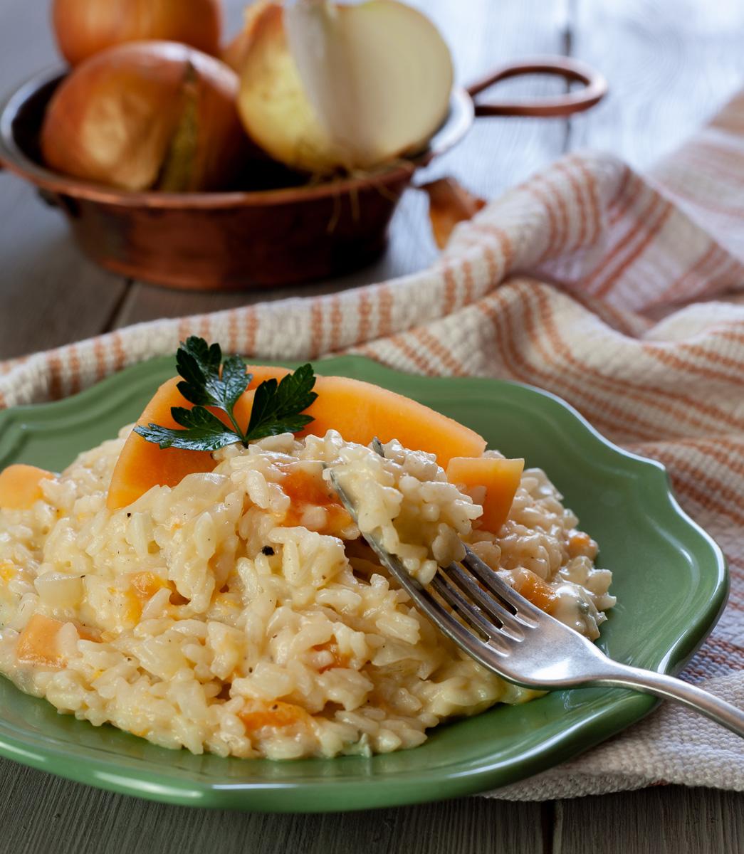 Risotto con melone e gorgonzola