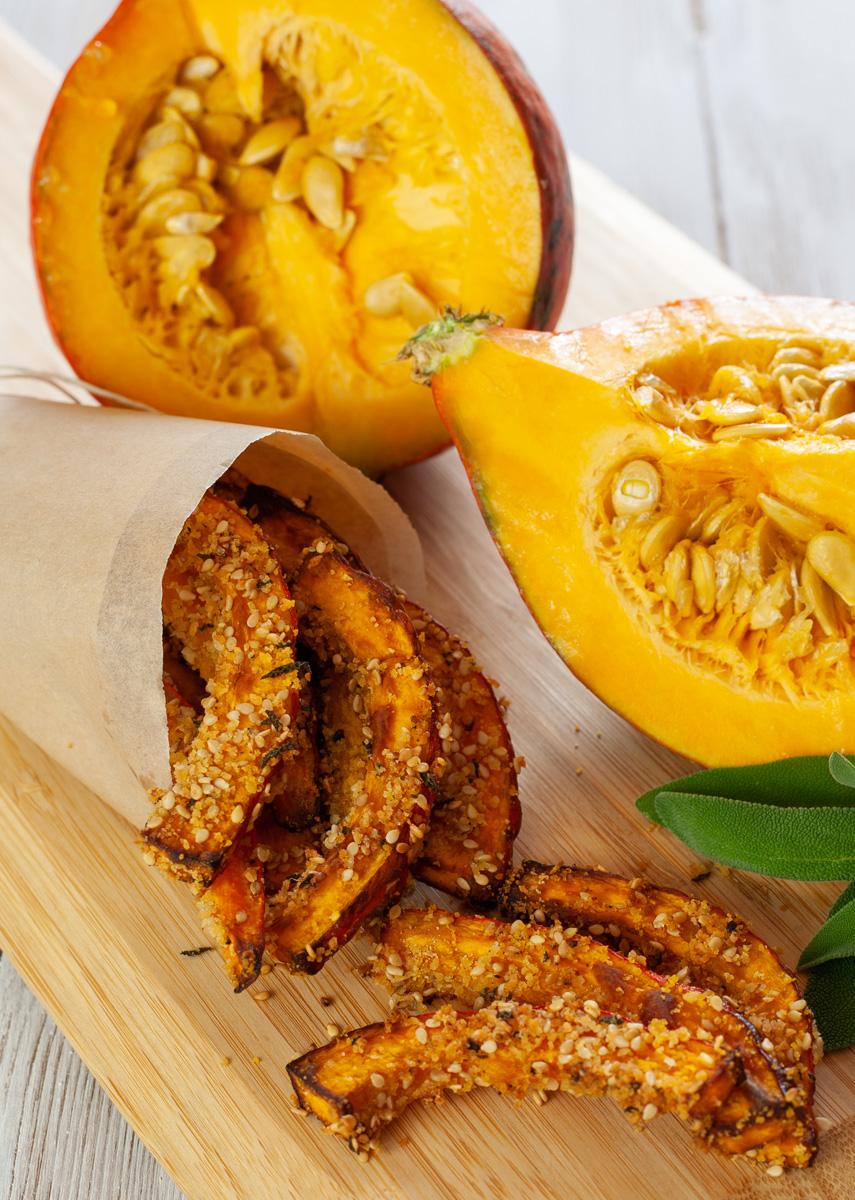 Ricette Con Zucca Hokkaido.Stick Di Zucca Hokkaido Al Forno Ricetta Con Sesamo E Spezie