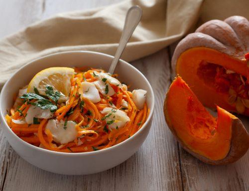 Spaghetti di zucca con nasello