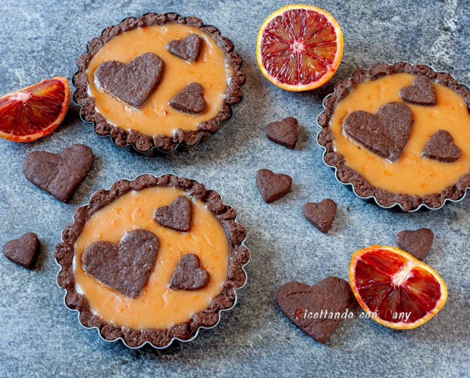 Crostatine al cacao con crema di arancia