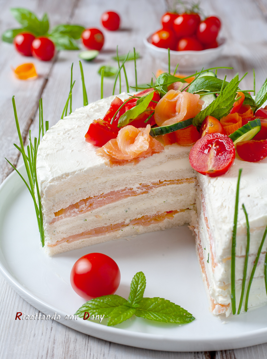 Sandwich cake al salmone affumicato