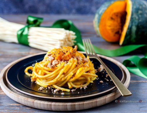 Spaghetti alla crema di zucca e amaretti