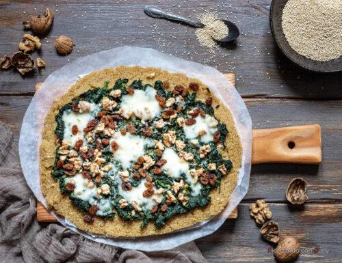 Pizza di quinoa agli spinaci