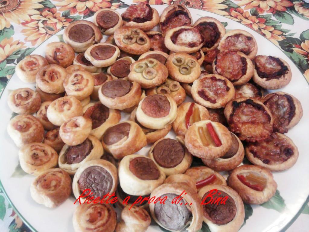 salatini e pizzette di sfoglia per feste e buffet