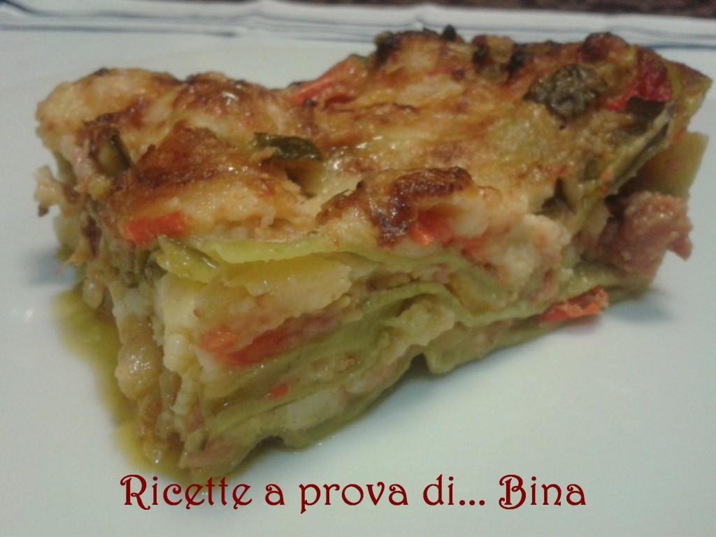 lasagne verdi salsiccia e verdure - ricetta svuotafrigo