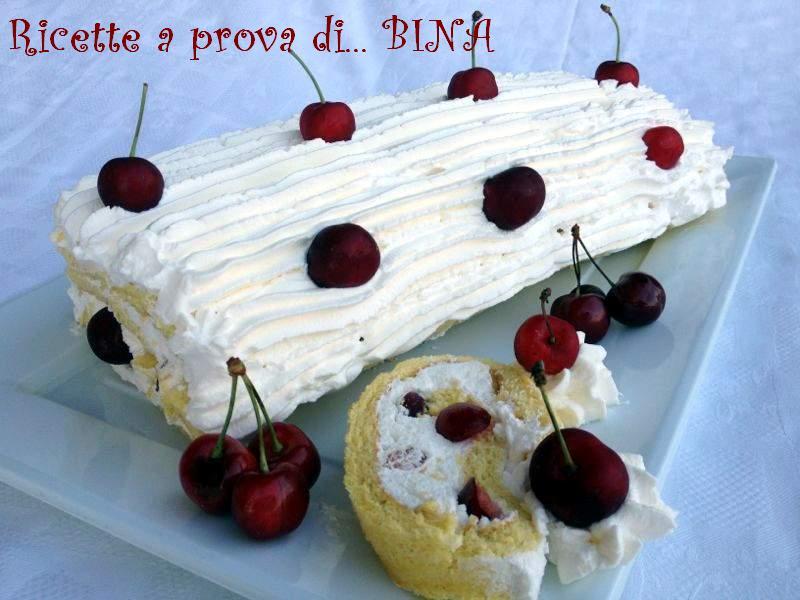 Rotolo con panna e ciliege - ricetta dolce