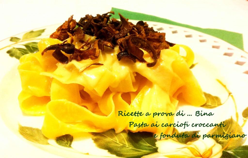 Pasta ai carciofi croccanti e fonduta di parmigiano ricetta primo piatto gustoso