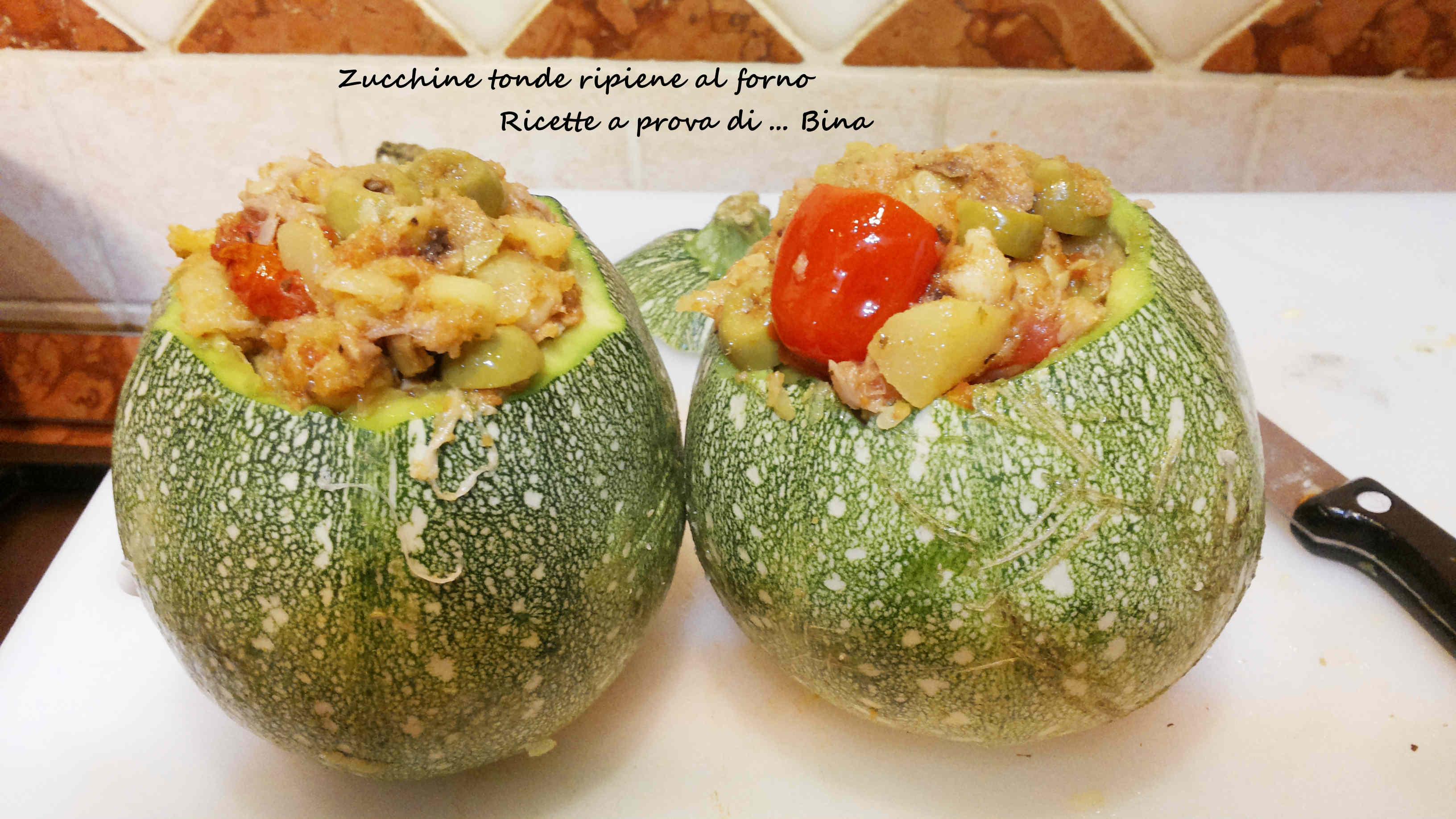 Zucchine tonde ripiene al forno , ricetta vegetariana
