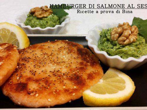 Hamburger di salmone al sesamo