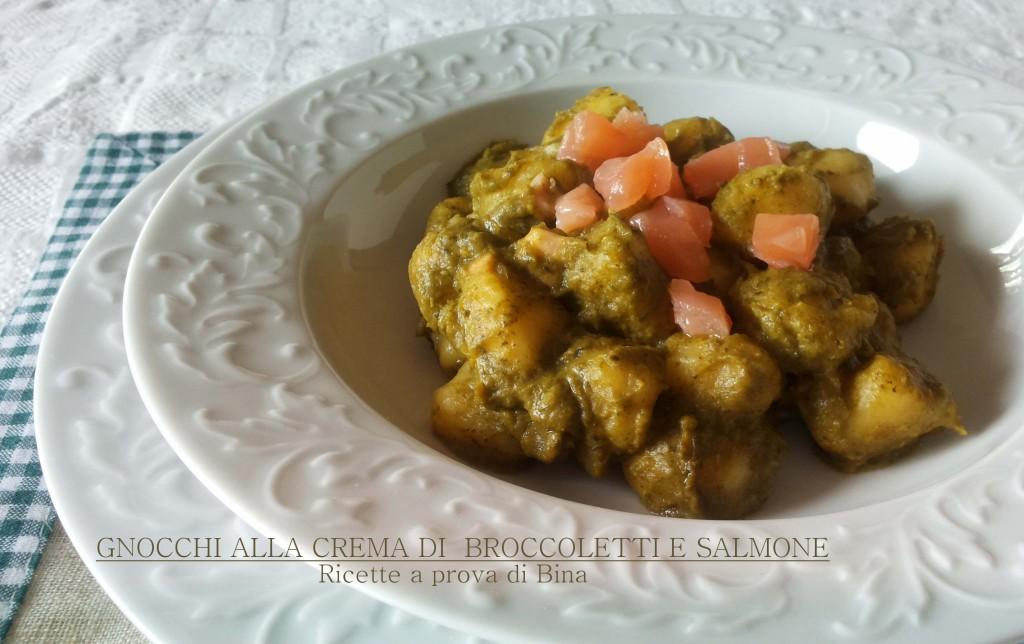 gnocchi alla crema di broccoletti e salmone - ricette a prova di Bina