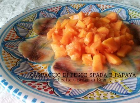 Carpaccio di pesce spada e papaya