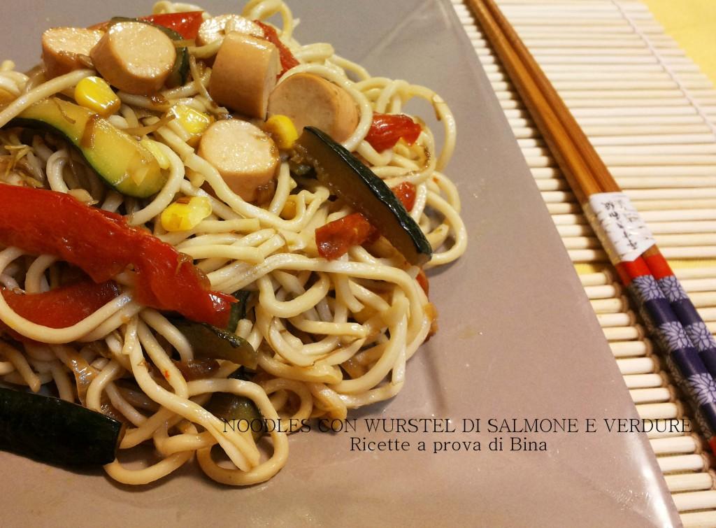 noodles con wurstel di salmone e verdure - ricette a prova di Bina