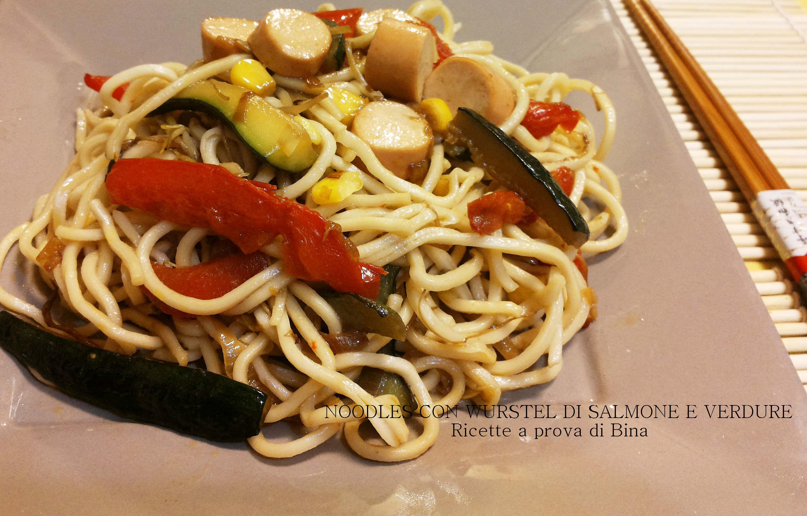 Noodles con verdure e wurstel di salmone ricette a prova for Salmone ricette