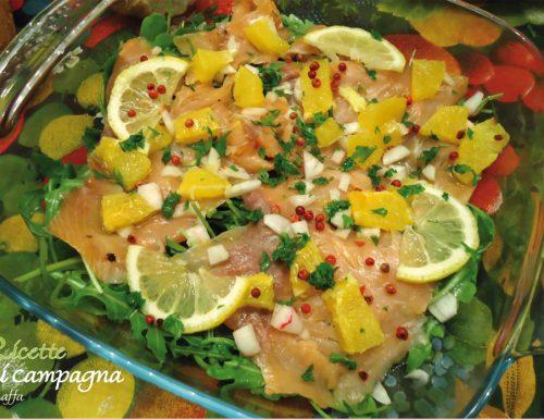 Carpaccio di salmone affumicato agli agrumi