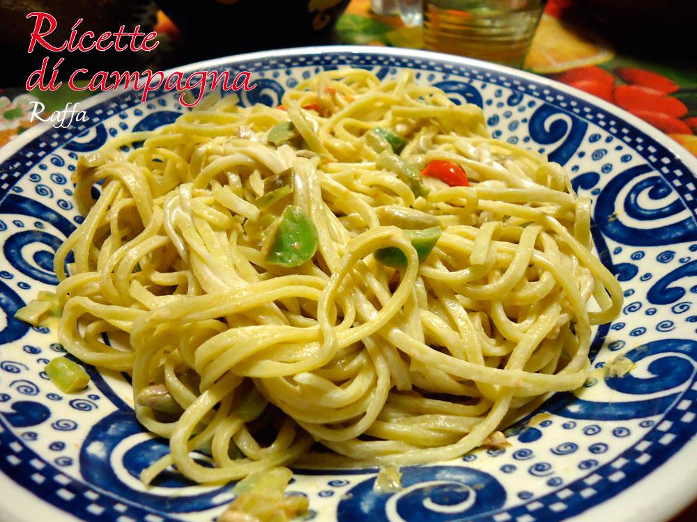 spaghetti alla chitarra con fave e asparagi