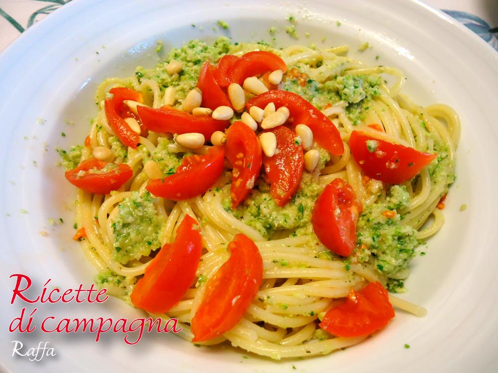 Spaghetti al pesto di zucchine - particolare