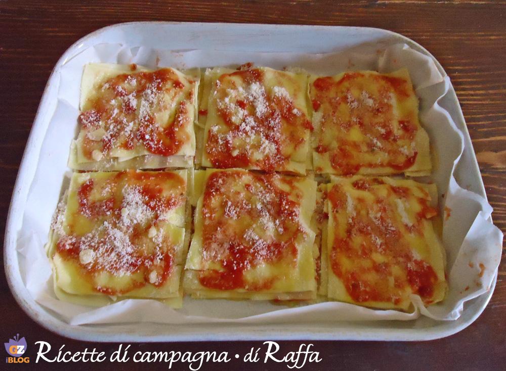 Lasagne light al pomodoro e basilico - teglia