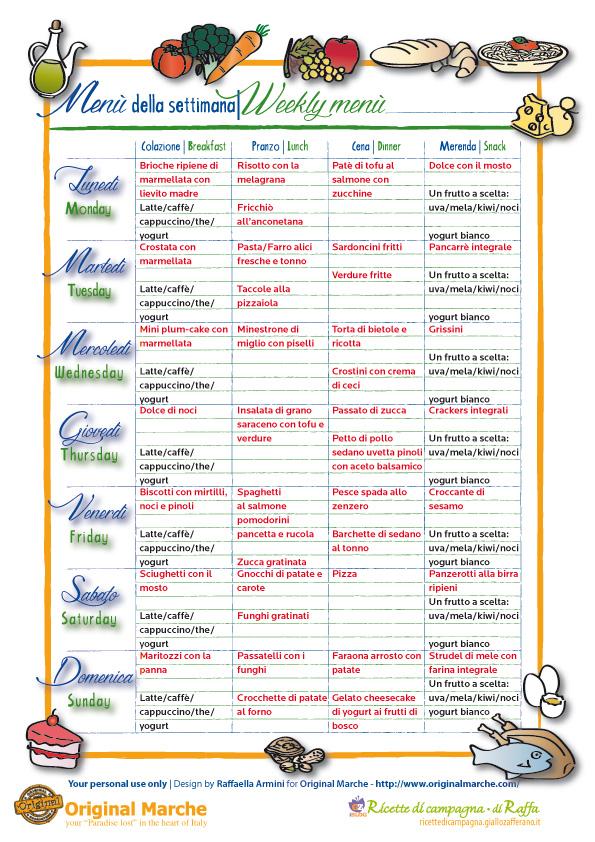 Proposte per il men della settimana ricette di campagna for Ricette per tutti i giorni della settimana
