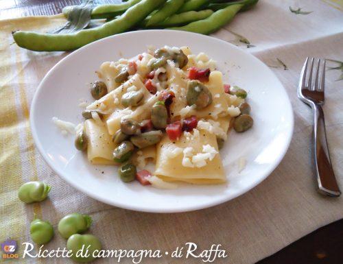 Paccheri fave, speck e cipolla con pecorino