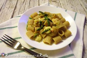 Mezzi rigatoni integrali con pesto di asparagi selvatici e gamberetti