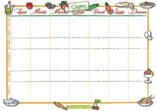 menù della settimana per giugno - scheda