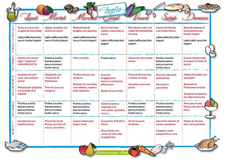 Men della settimana per luglio ricette di campagna for Ricette per tutti i giorni della settimana