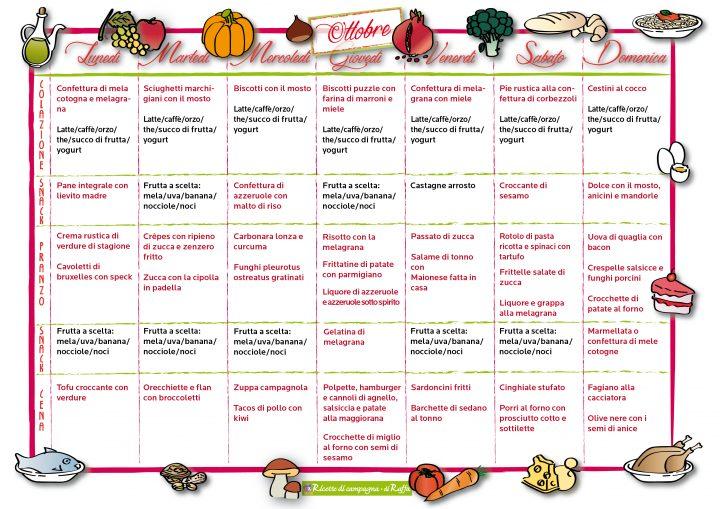 Menù della settimana per ottobre