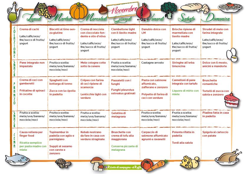 Men della settimana per novembre ricette di campagna for Ricette per tutti i giorni della settimana