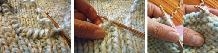 Come togliere il collo alto ad un maglione e rifinire a punto gambero - particolare