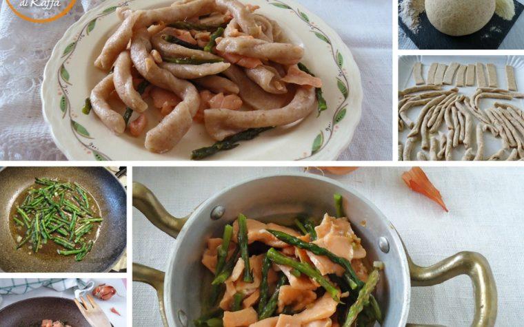 Strozzapreti fatti a mano con asparagi e salmone