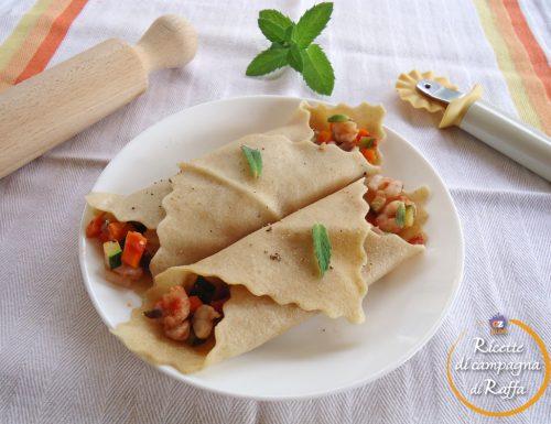 Fazzoletti con verdure e gamberetti alla menta