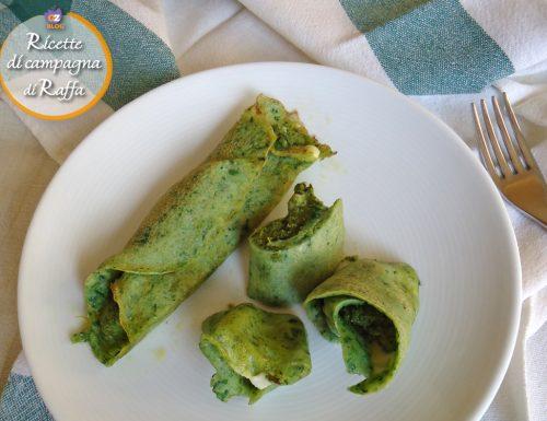 Crespelle verdi ripiene con pesto di broccoletti
