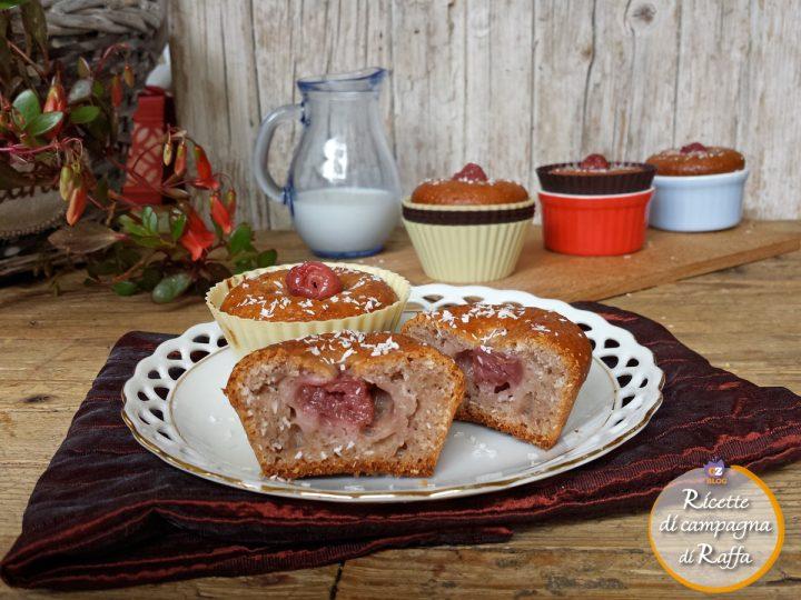 Muffin alle ciliegie e kefir con cocco, senza uova