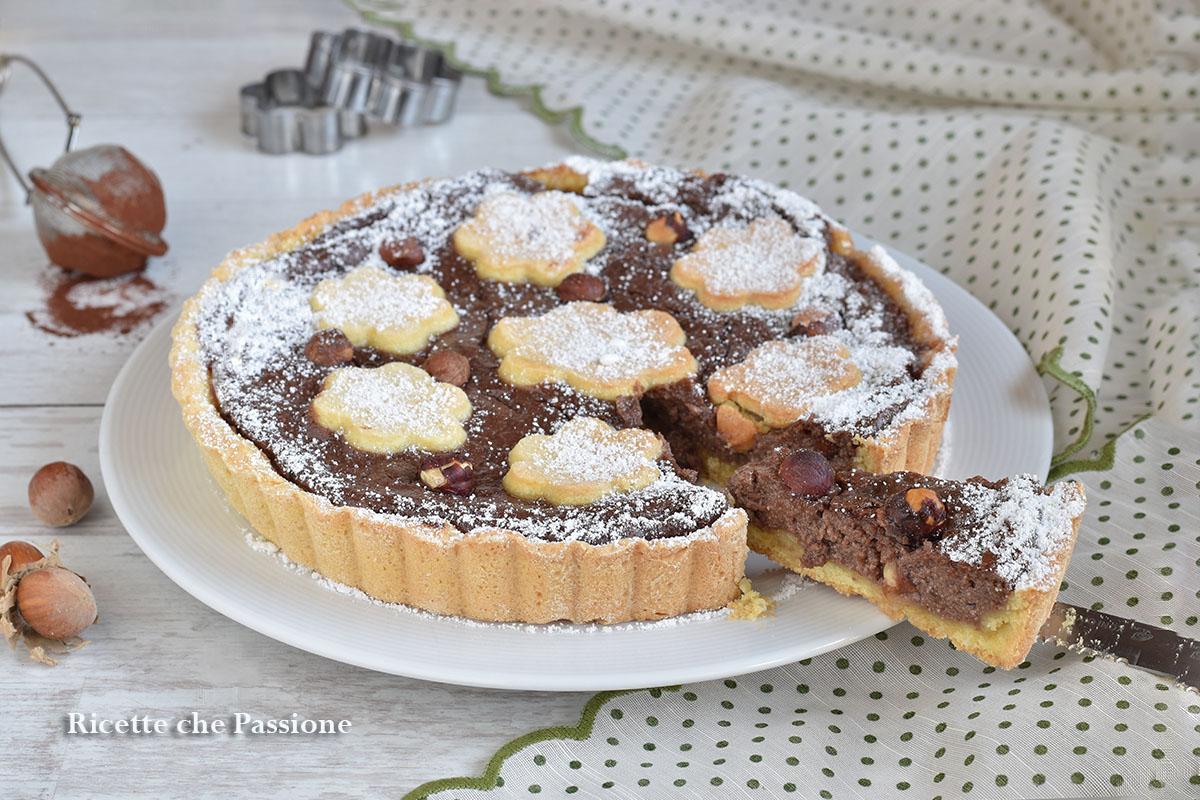 crostata con crema al cioccolato e ricotta