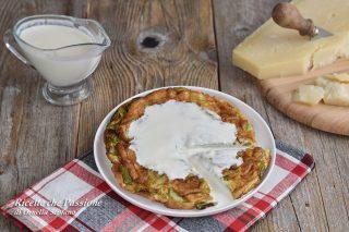 frittata di zucchine con fonduta di parmigiano
