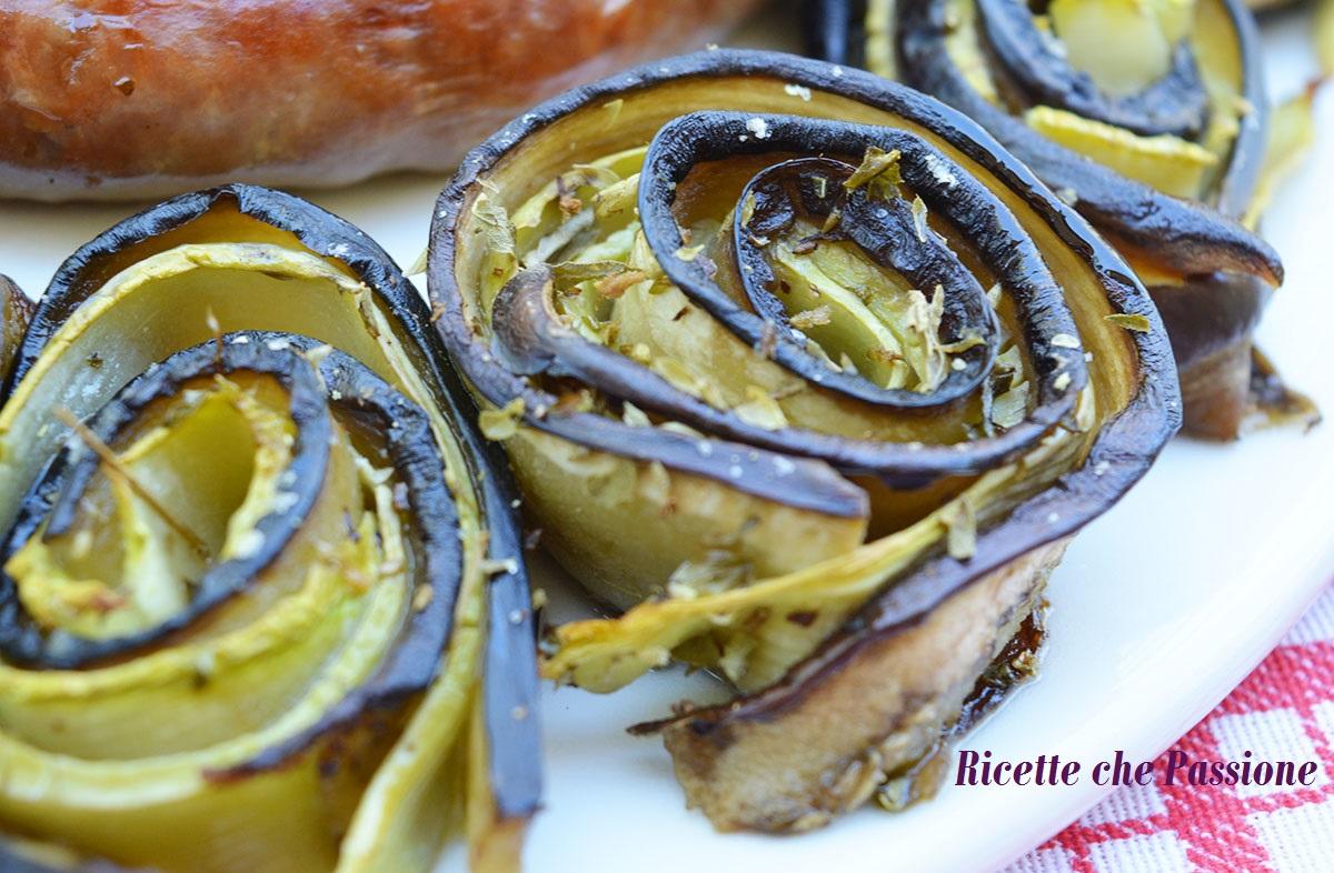 Girelle di Melanzane e zucchine al Forno