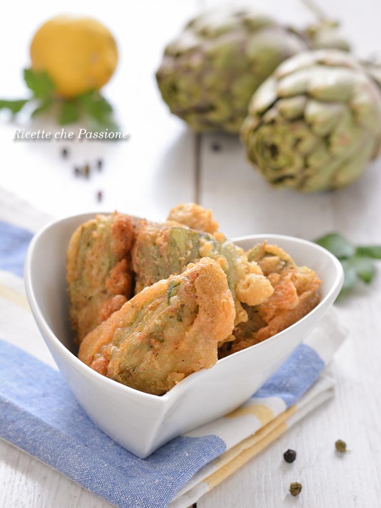 carciofi fritti in pastella gonfia e croccante