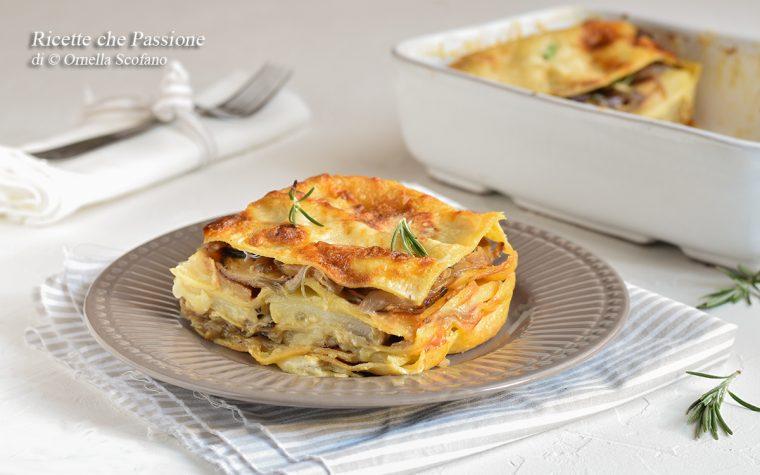 Lasagne al forno con patate e cipolle