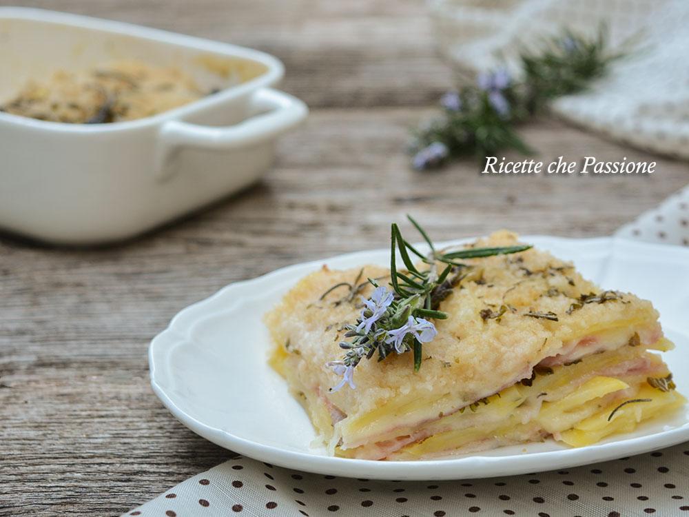 tortino di patate al forno con prosciutto e formaggio