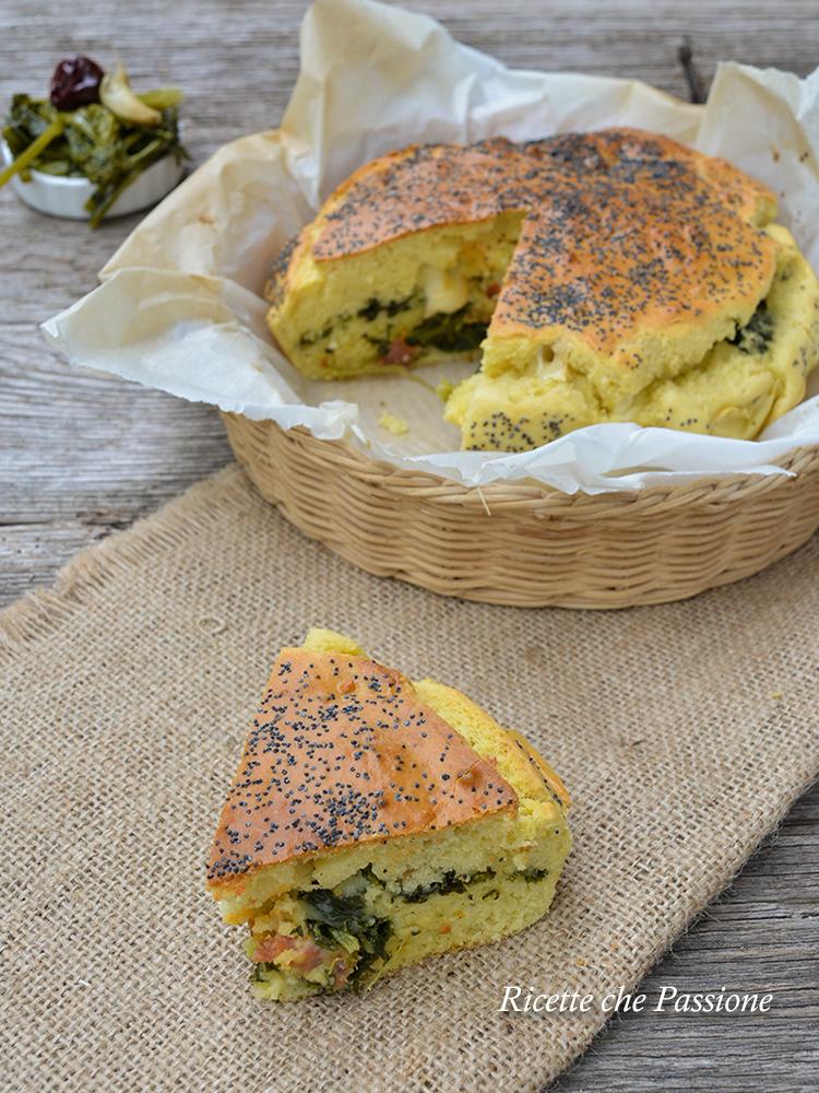 torta salata all'olio d'oliva con cime di rapa v
