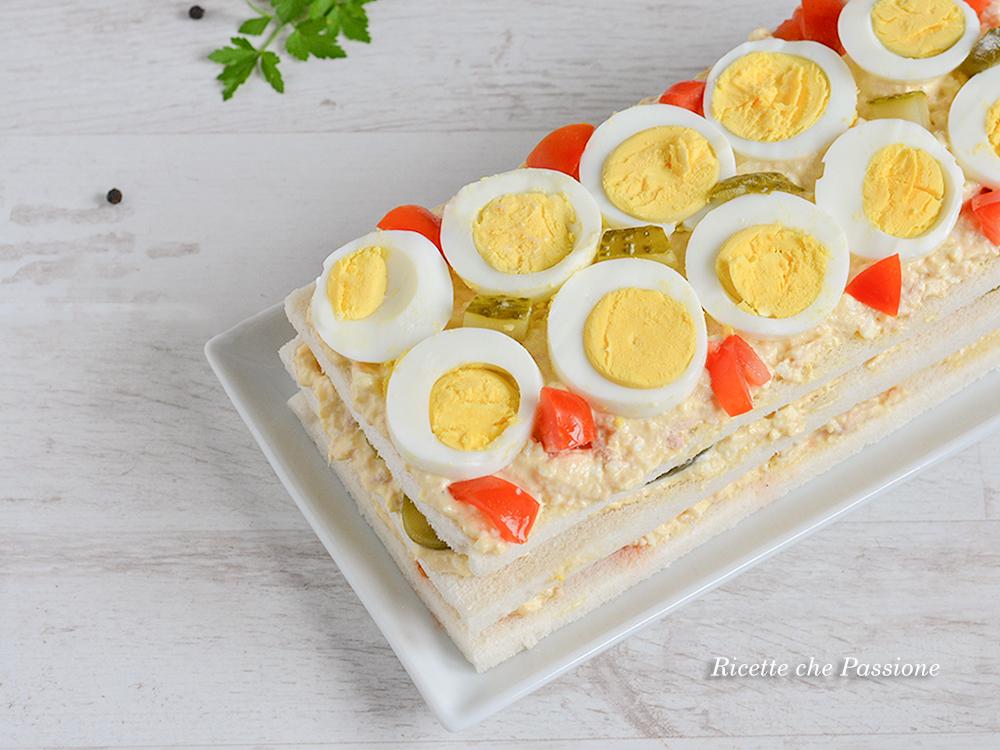 torta tramezzino al tonno con uova