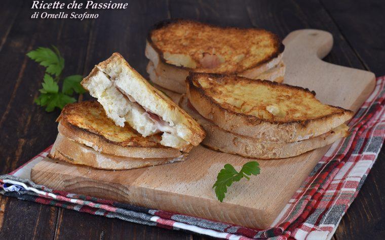 French Toast salati con prosciutto e stracchino