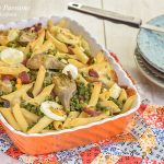 Pasta al forno con carciofi e salame