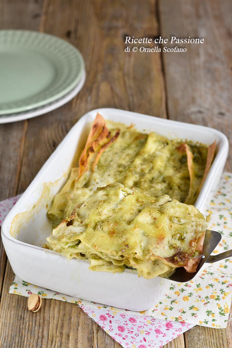 lasagne con ricotta e pesto di pistacchi