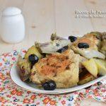 Pollo con carciofi e patate in padella