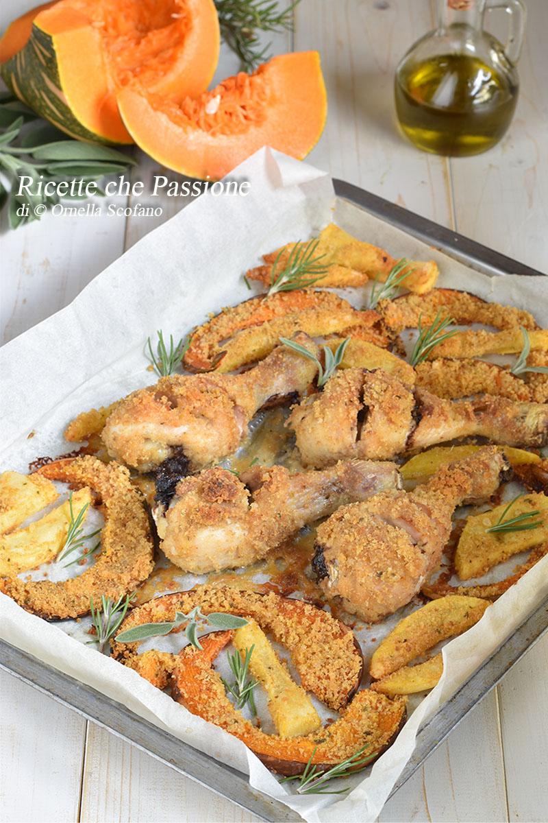 cosce di pollo croccanti al forno con zucca e patate